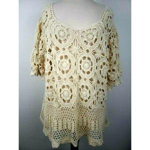Crochet Knit Top Doily Open Knit